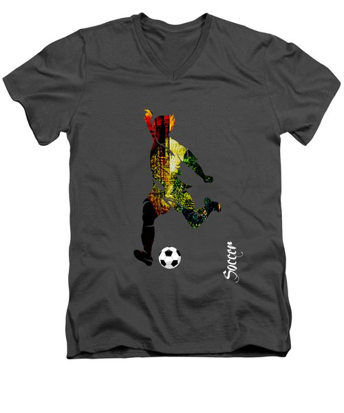Soccer Collection Men's V-Neck T-Shirt by Marvin Blaine