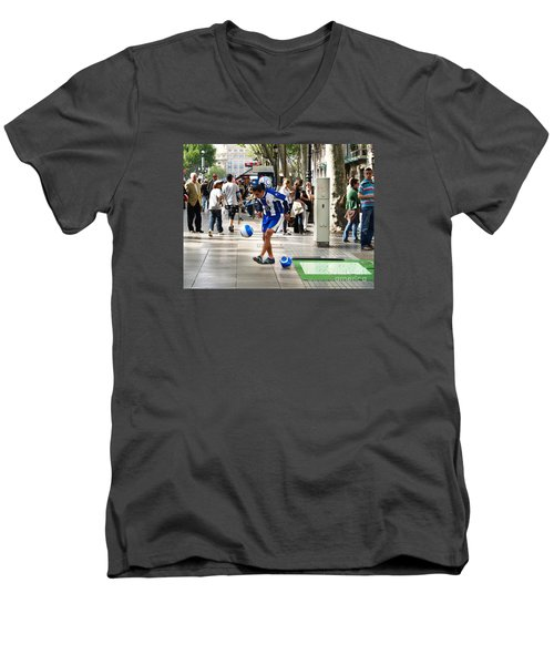 Men's V-Neck T-Shirt featuring the photograph Soccer Performance by Haleh Mahbod