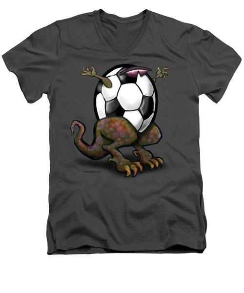 Soccer Zilla Men's V-Neck T-Shirt by Kevin Middleton