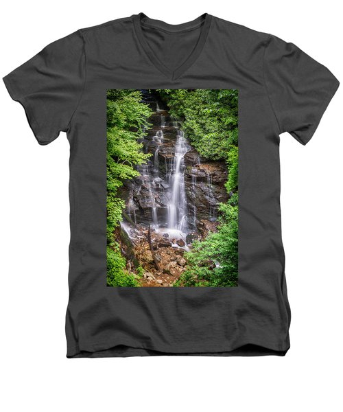 Men's V-Neck T-Shirt featuring the photograph Socco Falls by Stephen Stookey