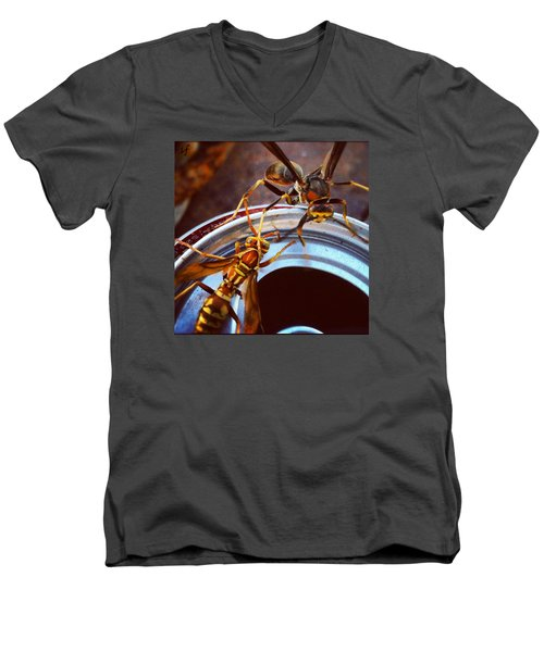 Soda Pop Bandits, Two Wasps On A Pop Can  Men's V-Neck T-Shirt