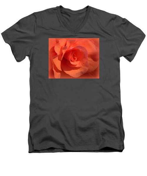 Men's V-Neck T-Shirt featuring the photograph Soft Begonia by AJ  Schibig