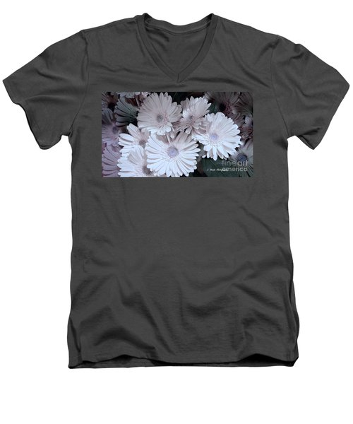 Soft Pink Daisy Bouquet Men's V-Neck T-Shirt by Jeannie Rhode