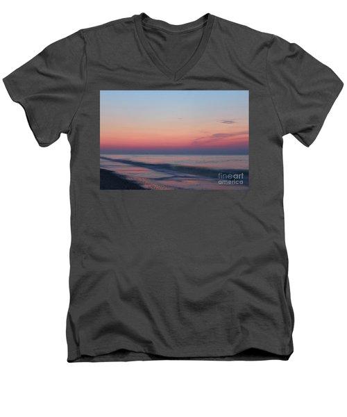 Soft Pink Sunrise Men's V-Neck T-Shirt