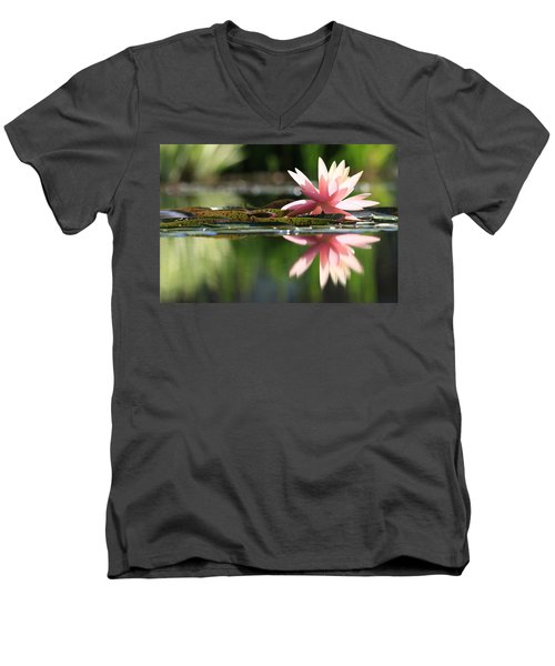 Soft Pink Water Lily Men's V-Neck T-Shirt