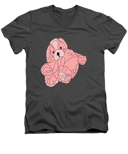 Men's V-Neck T-Shirt featuring the digital art Soft Puppy Pink by Jayvon Thomas