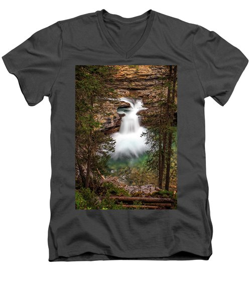 Men's V-Neck T-Shirt featuring the photograph Soft Smooth Waterfall by Darcy Michaelchuk