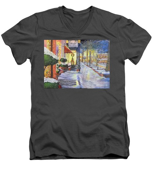 Soft Snowfall In Dahlonega Georgia An Old Fashioned Christmas Men's V-Neck T-Shirt