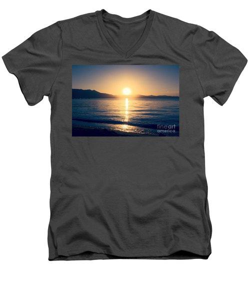 Soft Sunset Lake Men's V-Neck T-Shirt