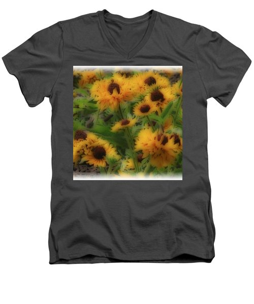 Men's V-Neck T-Shirt featuring the photograph Soft Touch Black Eyed Suzy's  by Debra     Vatalaro