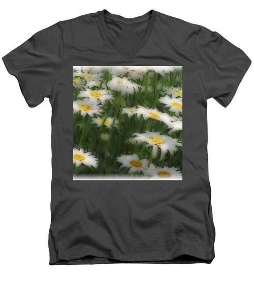 Men's V-Neck T-Shirt featuring the photograph Soft Touch Daisy by Debra     Vatalaro