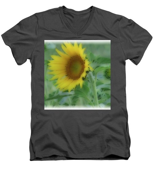 Men's V-Neck T-Shirt featuring the photograph Soft Touch Sunflower by Debra     Vatalaro