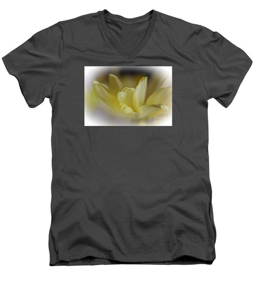 Men's V-Neck T-Shirt featuring the photograph Soft Yellow by Yumi Johnson