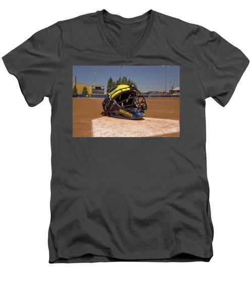 Softball Catcher Helmet Men's V-Neck T-Shirt