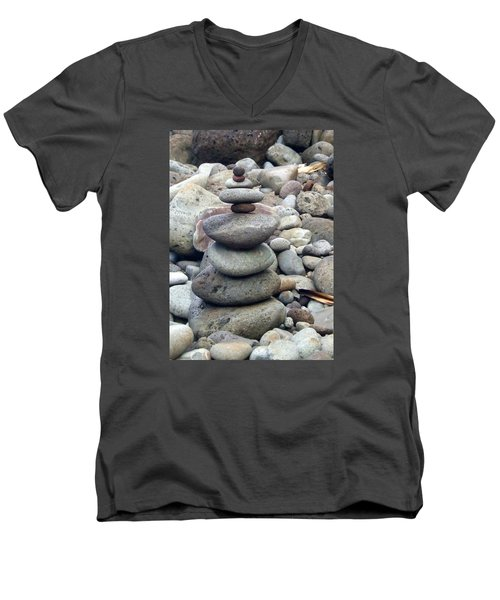Men's V-Neck T-Shirt featuring the painting Solace by Angela Annas