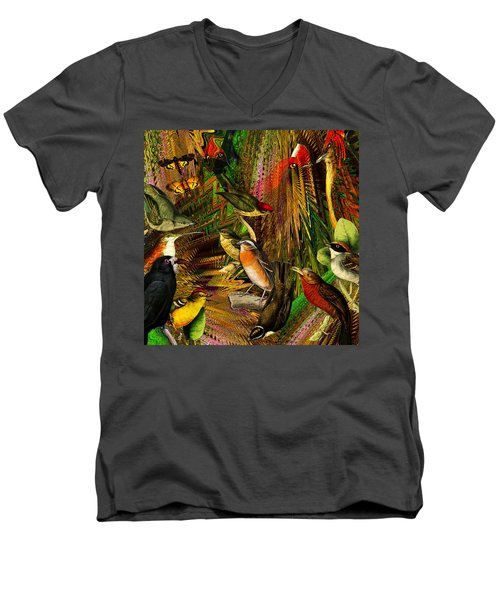 Solar Birds Of Paris Men's V-Neck T-Shirt by Joseph Mosley