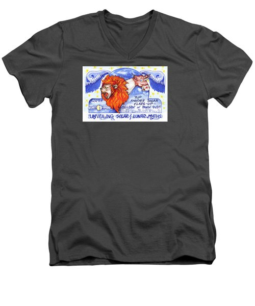 Real Fake News Solar Flare Foto Men's V-Neck T-Shirt