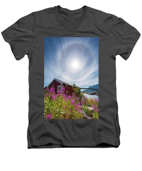 Solar Halo Above Rorbu Men's V-Neck T-Shirt
