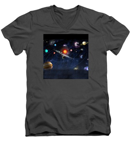 Men's V-Neck T-Shirt featuring the digital art Solar System by Gina Dsgn