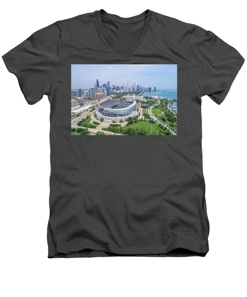 Men's V-Neck T-Shirt featuring the photograph Soldier Field by Sebastian Musial