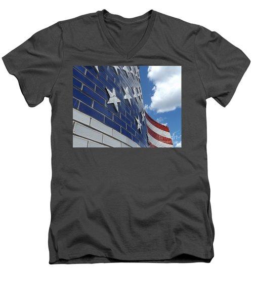 Solid Old Glory  Men's V-Neck T-Shirt
