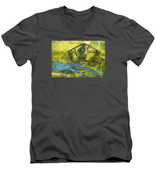 Men's V-Neck T-Shirt featuring the mixed media Solitaire by Cynthia Lagoudakis
