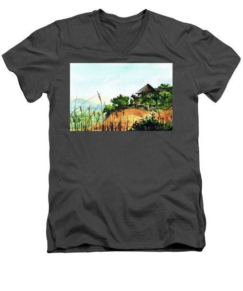 Men's V-Neck T-Shirt featuring the painting Solitary Cottage In Malawi by Dora Hathazi Mendes
