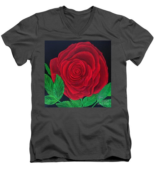 Solitary Red Rose Men's V-Neck T-Shirt