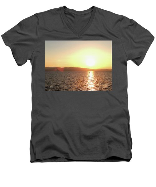 Solitary Sailboat Men's V-Neck T-Shirt by Felipe Adan Lerma