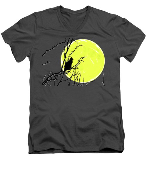 Solitary With Golden Moon Men's V-Neck T-Shirt