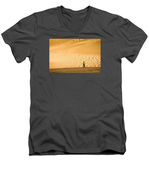 Men's V-Neck T-Shirt featuring the photograph Solitude In The Dunes by Rikk Flohr