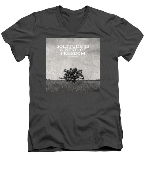 Solitude Is Freedom Men's V-Neck T-Shirt by Inspired Arts