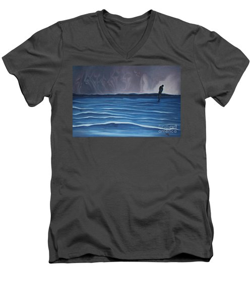 Men's V-Neck T-Shirt featuring the painting Solitude by Michael  TMAD Finney