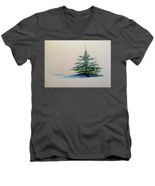 Men's V-Neck T-Shirt featuring the painting Solitude by Wendy Shoults