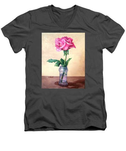 Men's V-Neck T-Shirt featuring the painting Solo Rose by Laura Aceto