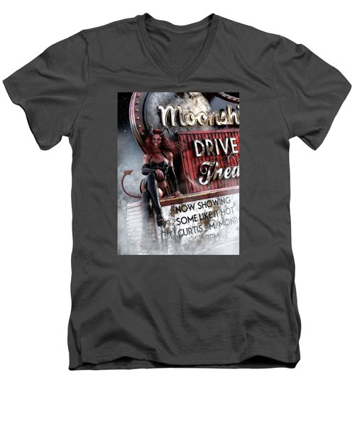 Men's V-Neck T-Shirt featuring the digital art Some Like It Hot by Shanina Conway