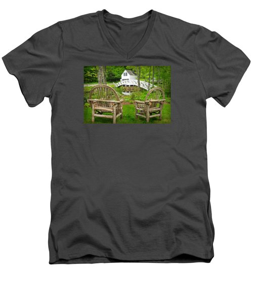 Somesville Maine - Arched Bridge Men's V-Neck T-Shirt