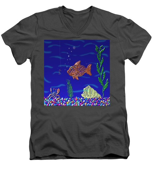 Something Fishy Men's V-Neck T-Shirt by Kevin Caudill