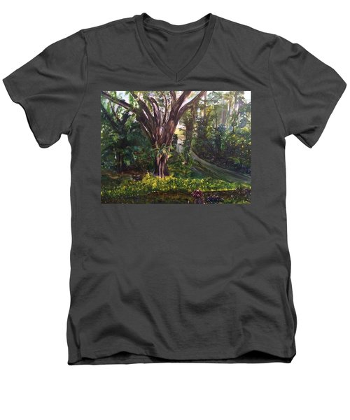 Men's V-Neck T-Shirt featuring the painting Somewhere In The Park by Belinda Low