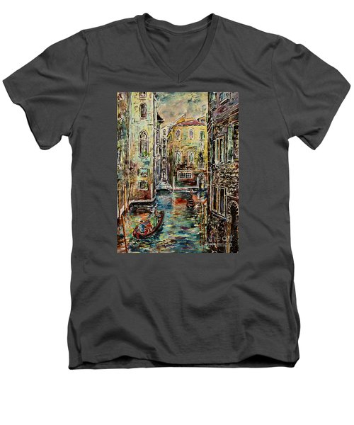 Somewhere In Venice Men's V-Neck T-Shirt by Alfred Motzer
