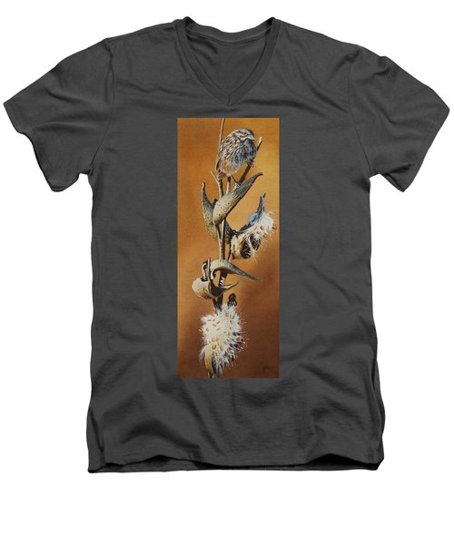 Song Sparrow And Milkweed Men's V-Neck T-Shirt
