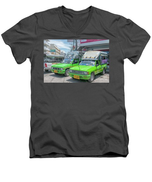 Men's V-Neck T-Shirt featuring the photograph Songthaew Taxi by Antony McAulay