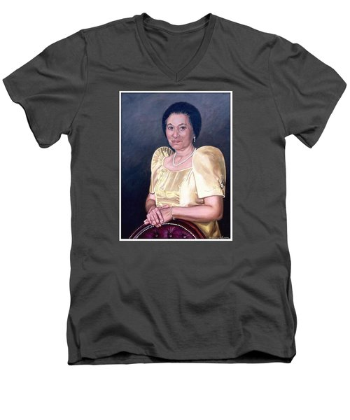 Men's V-Neck T-Shirt featuring the painting Sonia by Rosencruz  Sumera
