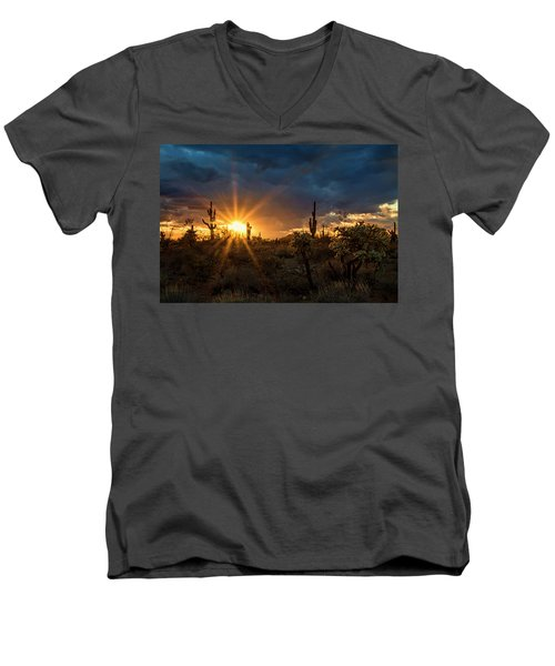 Men's V-Neck T-Shirt featuring the photograph Sonoran Gold At Sunset  by Saija Lehtonen