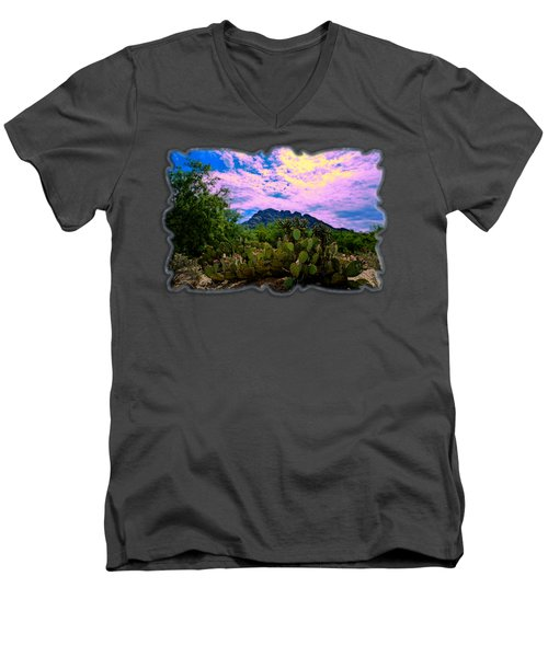 Sonoran Morning H54 Men's V-Neck T-Shirt by Mark Myhaver