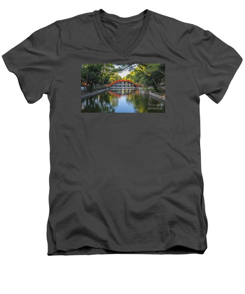 Men's V-Neck T-Shirt featuring the photograph Sorihashi Bridge In Osaka by Pravine Chester