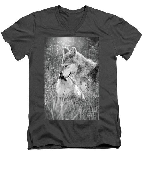 Soul Mates Black And White Men's V-Neck T-Shirt