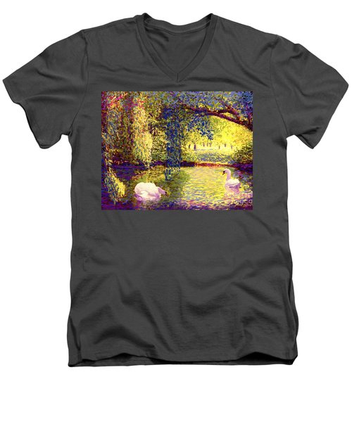 Men's V-Neck T-Shirt featuring the painting Swans, Soul Mates by Jane Small