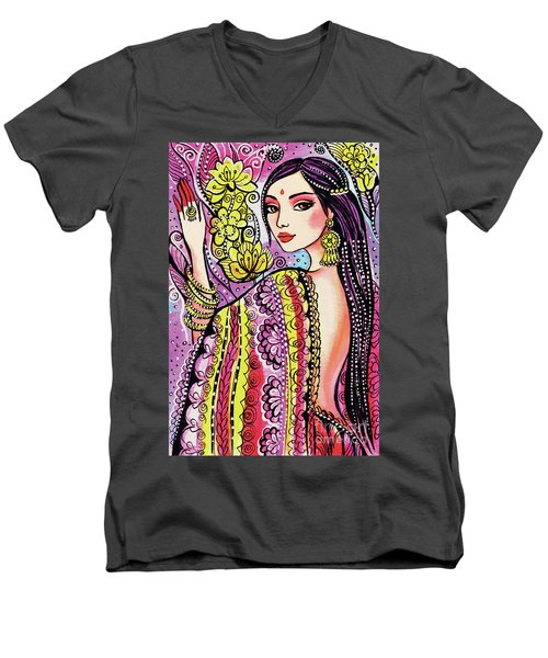 Men's V-Neck T-Shirt featuring the painting Soul Of India by Eva Campbell