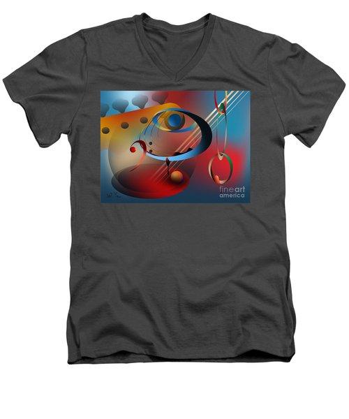 Sound Of Bass Guitar Men's V-Neck T-Shirt by Leo Symon